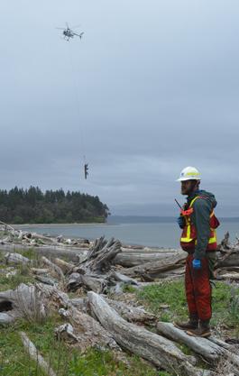 Helicopter assistance to restoration effort